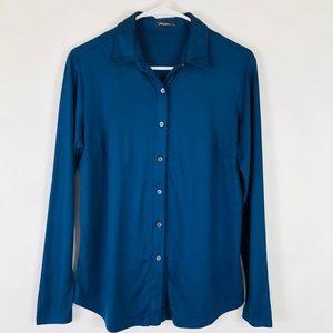 J McLaughlin Button Front Silk Blend Shirt Blue S